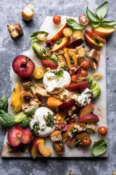 yummyinmytumbly:Tuscan Summer Stone Fruit, Tomato, and Burrata...