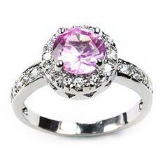 Simon Frank 14k White Gold Overlay Pink Solitaire Ring