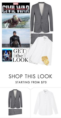 """""""Captain America: Civil War"""" by anja-jovanovich ❤ liked on Polyvore featuring Tiger of Sweden, MANGO MAN, Robert Talbott, men's fashion and menswear"""