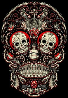 Skull. [ MexicanConnexionForTile.com ] #DayoftheDead #Talavera #handmade