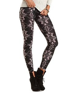 Cotton Tribal Printed Leggings: Charlotte Russe