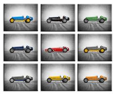Racecar Print Set of 9 Prints or Canvas Vintage Car prints | Etsy Vintage Car Nursery, Minimalist Home Decor, Minimalist Room, Car Prints, Home Designer, Professional Photo Lab, Gifts For An Artist, Toddler Art, Decorate Your Room