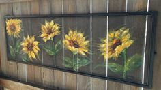 Recycle Old window Screen hand painting by RebecaFlottArts