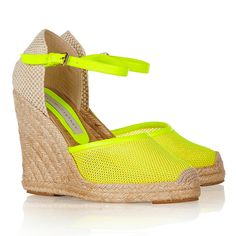 Give spring and summer a happy hello when you rock these Stella McCartney Faux leather and mesh wedge espadrilles! Yellow Sandals, Leather Wedge Sandals, Leather Wedges, Leather Espadrilles, Stella Mccartney, Neon Accessories, Only Shoes, Resort Wear, Espadrilles