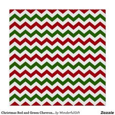 Christmas Red and Green Chevron Pattern Poster