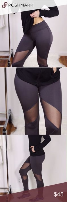 """Charcoal Mesh Workout Pants Back in stock!!! Get yours before they sell out again!Hottest style charcoal workout leggings with a sexy mesh accent above the knee in front + below back of the knee. Stretchy + comfortable, easy to move in. Cute for the gym + for lounging ☺️ True to size. Stretch waistband + back zipper pocket. Flattering 8"""" rise. 87% poly 13% elastane. Sleek material. New with tag. Sizes S, M, L, XL available. Black mesh zip jacket top also for sale. Boutique Pants"""