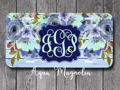 Watercolor Blue - Purple - Aqua Flowers - Personalized License Plate - Weathered Wood - Car Tag - Monogrammed License Plate  - Car Accessory by AquaMagnolia on Etsy