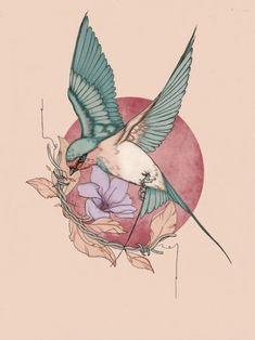 87 Unique & Varicolored Tattoo Designs - Varicolored tattoo designs can more en. - 87 Unique & Varicolored Tattoo Designs – Varicolored tattoo designs can more enhance the sense o - Art Nouveau Tattoo, Tatuagem Art Nouveau, Tatoo Bird, Swallow Bird Tattoos, Bird Drawings, Tattoo Drawings, Tattoo Art, Iris Tattoo, Unique Drawings