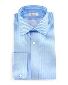 Striped+Barrel-Cuff+Dress+Shirt,+Blue+by+Charvet+at+Bergdorf+Goodman.