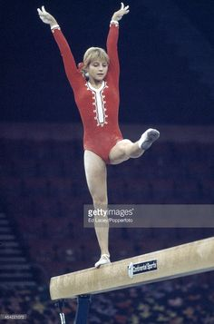 Olga Korbut of the USSR in action on the balance beam during the European Women's Artistic Gymnastics Championships at Wembley Arena in London on 26th October 1973. Korbut won the All-Around silver medal.