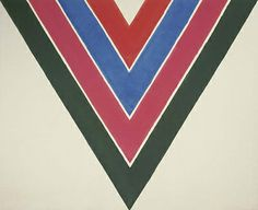"""Shoot"", by Kenneth Noland (1964). Material: Acrylic on canvas. Size: 103' 3/4"" x 126' 3/4"" (263.5 x 321.9 cm). Collection: Smithsonian American Art Museum Museum"