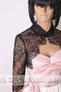 Plus size Bridal solstiss lace style /shrug / jacket / wedding bolero  /3/4-sleeve /white /ivory/ black by UpToDateFashion on Etsy https://www.etsy.com/listing/261086848/plus-size-bridal-solstiss-lace-style