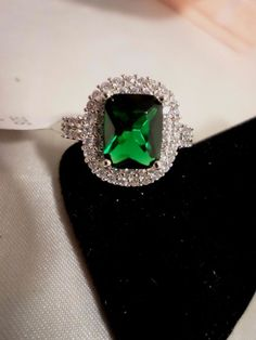 ELEGANT 925 STERLING SILVER EMERALD CUT 4 CARAT SIMULATED EMERALD RING SIZE 9 #Unbranded #SolitairewithAccents