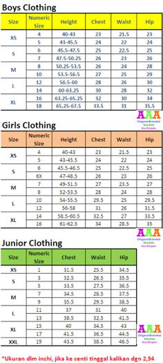 Size Chart Clothing