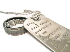 Wedding Vow Hand Stamped Custom Necklace for Men, Wedding gift for men,Personalized  Groom gift or groomsmen gifts. $55.00, via Etsy.