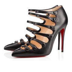 Christian Louboutin Viennana 100mm Black Leather Women Ankle-Boots $155