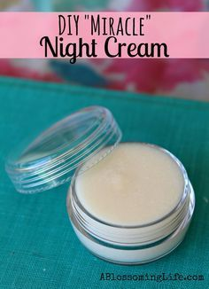 "DIY ""Miracle"" Night Cream. I made this and a few other recipes by this lovely lady and they're all fab. The night cream is gorgeous. Add some calendula, rosemary, lavender and chamomile essential oils for their anti aging properties."
