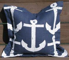 Summer Nautical! White Anchors on Navy Linen Pillow