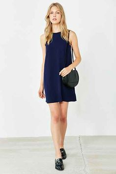 Cooperative High neck Scallop Frock Dress, navy, sleeveless, $69, sale $55.20 | Urban Outfitters