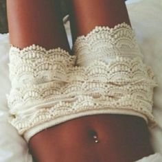 White Crochet Shorts Never worn and bought from another posher.   -No Holds -Please use the offer button: I probably will accept because I'm trying to clear out my closet  -Please no rude comments about the price or the item Thanks for stopping by my closet ❤️ Shorts