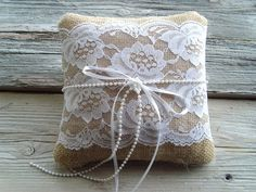 Burlap ringbearer pillow with vintage white by byStitchHappy