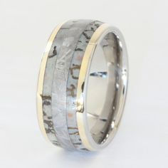 Cool men's wedding band!! Dinosaur Bone Band with Meteorite and Gold Inlays. $999.00, via Etsy.