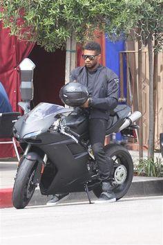 Usher on his Ducati 848Evo Dark Stealth