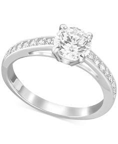 Swarovski Silver-Tone Round Crystal Channel-Set Ring