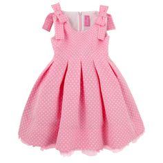 Sleeveless pink and white spotted dress made of woven cotton. White percale lining. Bows over the shoulders. Little Dresses, Little Girl Dresses, Girls Dresses, 50s Dresses, Toddler Dress, Baby Dress, Trendy Dresses, Cute Dresses, Little Girl Fashion