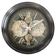 Ρολόι τοίχου με φόντο τον παγκόσμιο χάρτη Wall Clocks, Home Decor, Decoration Home, Chiming Wall Clocks, Room Decor, Interior Design, Home Interiors, Interior Decorating