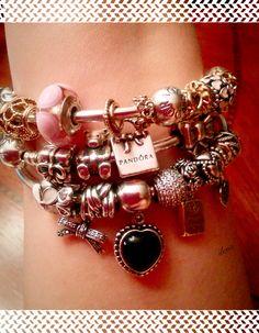 Pandora bangles, two tone, pink, and black
