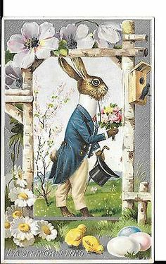 Dressed bunny in blue peacoat easter greetings antique postcard V4636