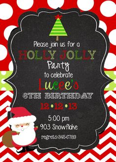 12 Christmas Birthday Party Invitations with by stickerchic