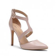 Women's French Taupe Leather 4 Inch Modified T-strap Heel | Stefani by Sole Society