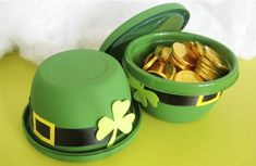St. Patricks Day - paint little gladware bowls green to make these - cute idea - could be used for teacher's gifts!  Even use a bigger bowl to hold a cupcake.