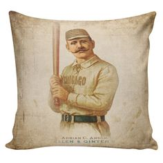 Baseball Pillow Adrian Cap Anson Chicago by ElliottHeathDesigns Boy Baseball Room Decor Sports Themes Man Cave
