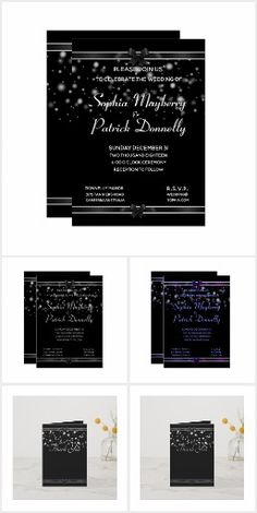 Black Tie Invitation, Invitation Suite, Zazzle Invitations, Invitation Design, Seating Cards, Paper Design, Collections, Products, Gadget