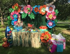 What a stunning dessert table at this Moana birthday party!! See more party ideas and share yours at CatchMyParty.com #moana #desserttable