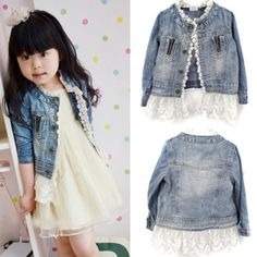 Girl's Denim and Lace Jacket