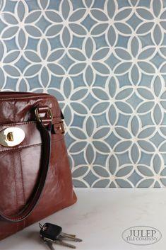 This kitchen backsplash features our Two-Color Bloom pattern in Blue-Gray & Light Blue Watercolor | juleptile.com #tile #backsplash #design