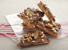 Enjoy this toffee that's made with pecans and chocolate – a nutty dessert.