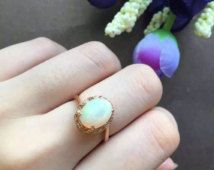 18k gold natural opal ring with 24 diamonds, diamond opal engagement ring, engagement solitaire ring