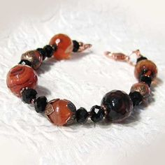 Fire+agate%2C+red+carnelian+and+black+crystal+bracelet/ Thaddeus Rose