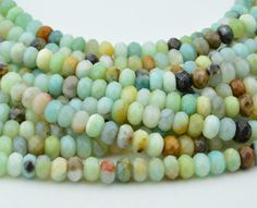 15.5 Inch Full Strand  Amazonite  Rondelle  Faceted by Semistone