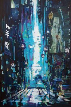 Skyline 2079 Future City, Blade Runner, City Style, Ufo, Oil On Canvas, Saatchi Art, Original Paintings, Skyline, Fine Art