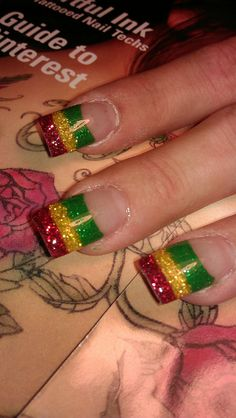 never thought of doing acyrlic nails like this too cute but I would add rhinestones :) these rasta nails thoee. Hair And Nails, My Nails, Glitter Nails, Jamaica Nails, Rasta Nails, Acyrlic Nails, Seasonal Nails, Nails Only, Artificial Nails