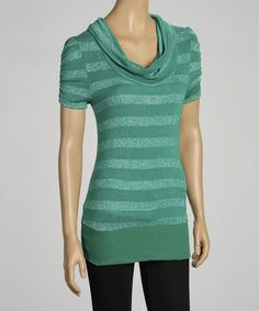 Take a look at this Green Stripe Drape Neck Top by Select Brands on #zulily today!