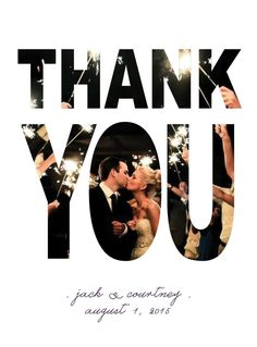 Personalized wedding thank you cards.