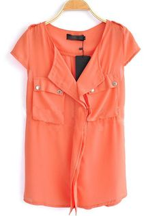 Orange  V Neck Short Sleeve Chiffon Shirt