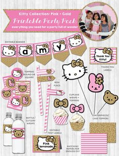 Hello Kitty Party Printable Decor Pack: Pink & Gold Glitter and like OMG! get some yourself some pawtastic adorable cat shirts, cat socks, and other cat apparel by tapping the pin! Hello Kitty Birthday Invitations, Hello Kitty Theme Party, Hello Kitty Themes, Printable Invitations, Party Printables, Anniversaire Hello Kitty, Hello Kitty Baby Shower, Cat Party, Party Kit